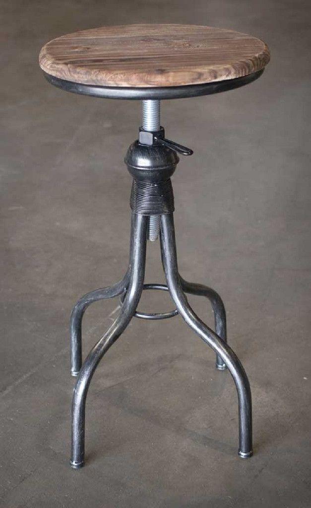 Rustic Industrial Adjustable Height Metal Stool, Solid Wood Top