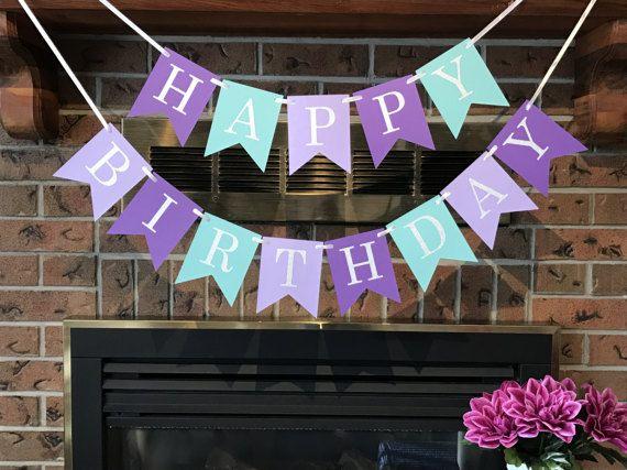 Mermaid Birthday Party, Under the Sea Theme, 1st Birthday Party, Purple Birthday Banner, Mermaid Party, Cake Smash Backdrop, Happy Birthday