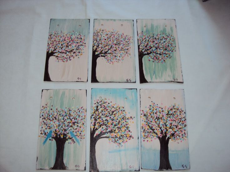 Trees on wood for magnet grocery list
