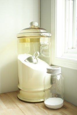 glass detergent jar and metal scoop: Ideas, Laundrydetergent, Homemade Laundry Detergent, Laundry Rooms, Diy, Glass Jars, Laundryroom