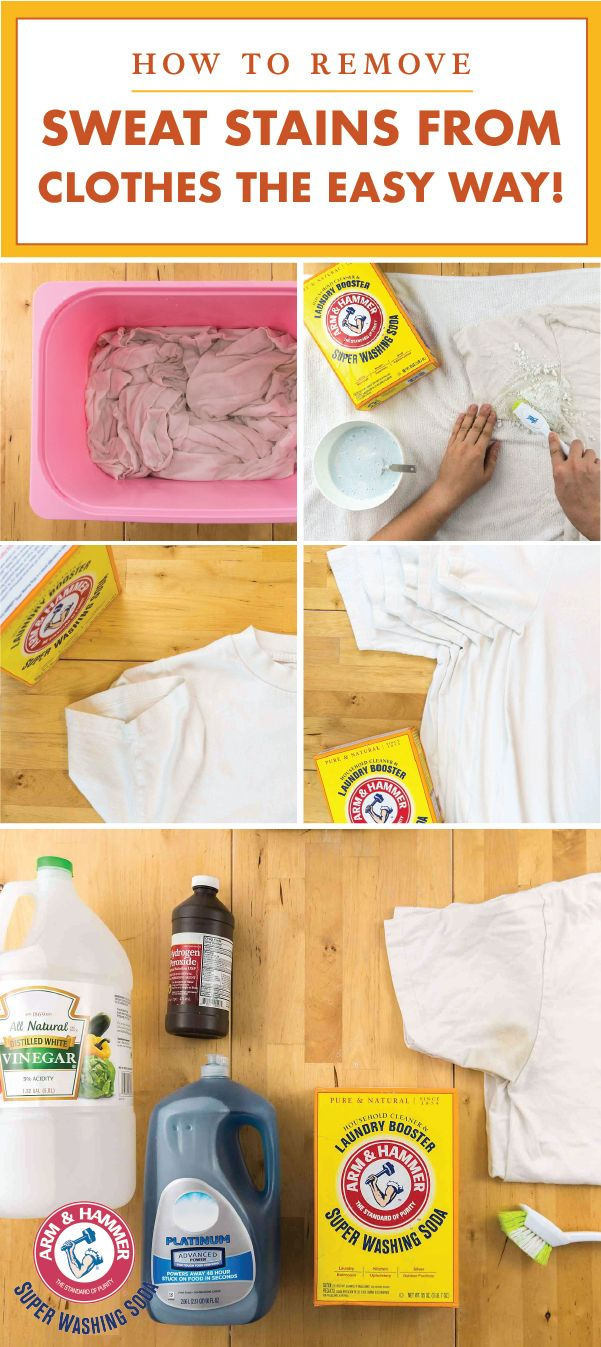 Stubborn sweat stains will be no more thanks to a few household ingredients like ARM & HAMMER™ Super Washing Soda! Check out this quick tip for getting rid of stains the easy way to try your hand at natural cleaning hacks without compromising on cleaning power. Getting your clothes, linens, uniforms, and everything in between back to looking brand-new has never been easier.