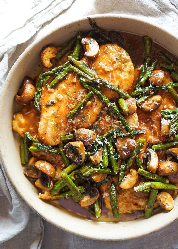 Can we all just agree recipes with wine are the best recipes?    If you're in a rut for what to make for dinner this week, I have the PERFECT meal for you.  Sweet Marsala wine reduced with rich chicken broth, buttery mushrooms, seared chicken, roasted asparagus, and Parmesan cheese all on top of buttery...