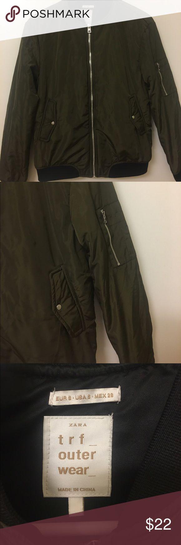 ZARA army green bomber jacket Really thick and warm bomber! Can fit XS-M Zara Jackets & Coats