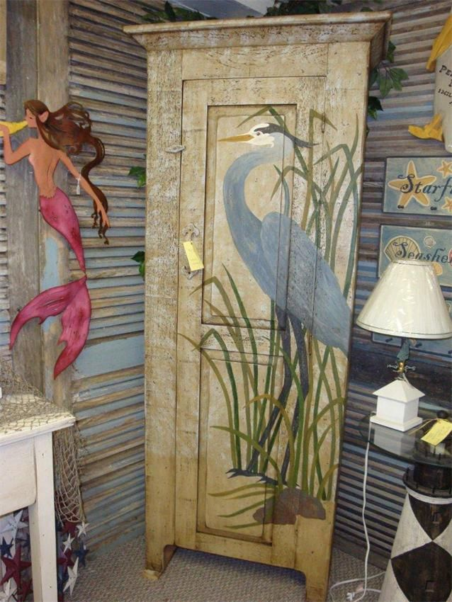 hand painted designs on furniture | Amish Primitive Heron Chimney Cupboard | Amish Cupboards & Cabinets ...