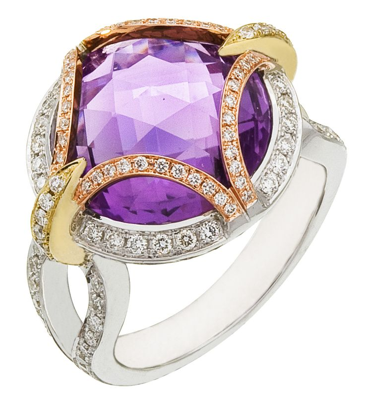 Diamond Ring, .63 Carat Diamonds 10.30 Carat Amethyst on 14K Rose, White & Yellow Gold