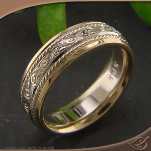 Fresh Two tone Men us Engraved Wedding Band at Green Lake Jewelry Note
