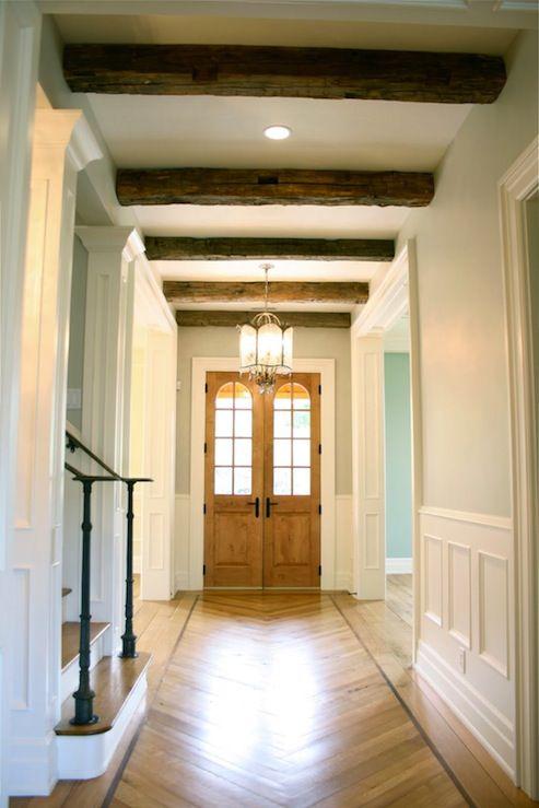 Love love love the beams and the door!: Ceilings Beams, Dreams Houses, Exposed Beams, Paintings Colors, Front Doors, Floors Design, Rustic Wood, Gray Wall, Wood Beams