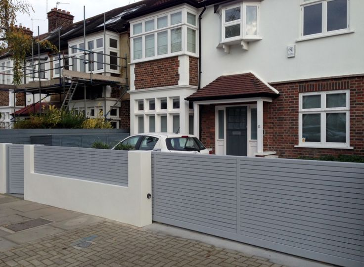 Front boundary wall screen automated electronic gate for Front garden fence designs