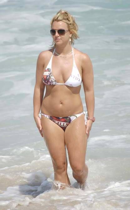 Britney Spears in Printed White Bikini