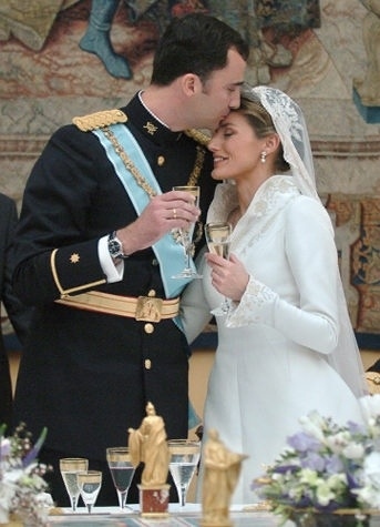 After years of the Spanish media dissecting his bachelorhood and choice of women, Prince Felip wed award-winning television journalist Letizia Ortiz Rocasolano, despite the fact that she was previously divorced. The wedding took place on May 22, 2004 at the Almudena Cathedral in Mardia and was watched on television by more than 25 million viewers in Spain alone. Ortiz gained the new title of Her Royal Highness The Princess of Asturias.