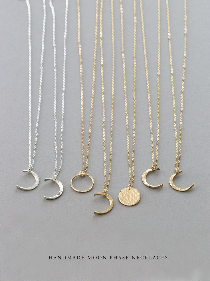Dainty Moon Phase Necklaces: Crescent Moons, Full Moon, New Moon.