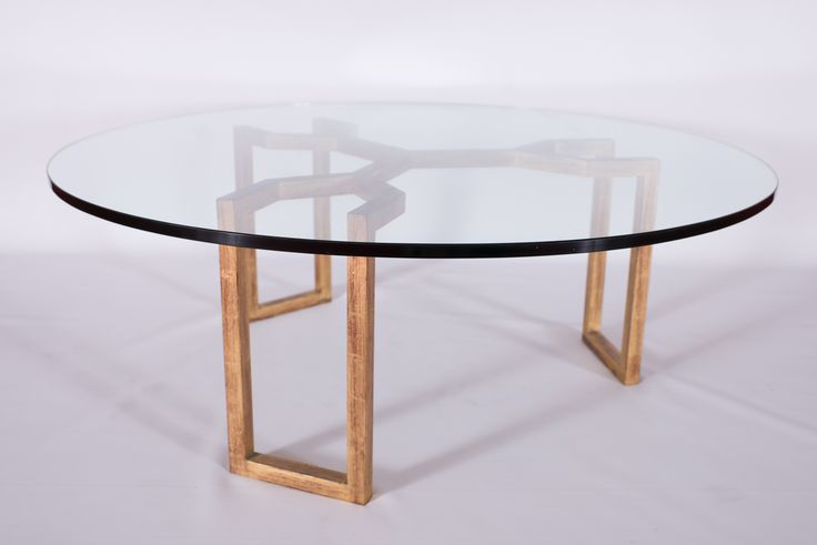 Jean ROYÈRE (1902-1981) Crabe model, circa 1955 Low Coffee Table Round glass table supported by tripod base of gold painted metal  Editions SA 28 x 29.75 x 14.5 in.  - 71 x 75.5 x 37 cm. (base only)
