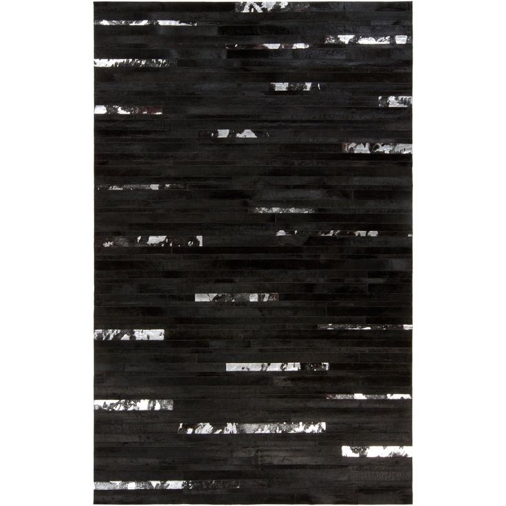 Handcrafted Black Leather Animal Hide Rug (2' x 3') (Jet Black-(2' x 3')), Size 2' x 3'