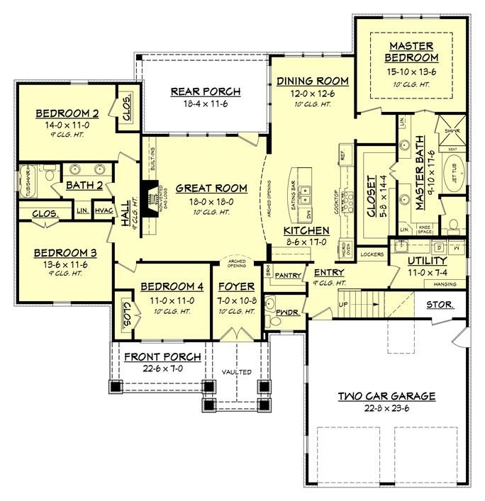 142 1173 floor plan main level - Family House Plans