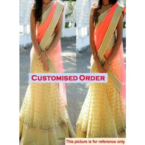 Online Shopping for women's clothing stylish cream lehe | Lehnga | Unique Indian Products by j's attire - MJ'S 88860067180