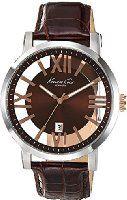 Kenneth Cole New York Transparency KC8010 - Reloj de acero inoxidable con correa café de cuero para hombre