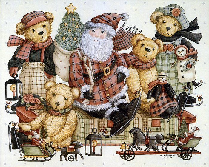 Teddys & Toys by Nita Showers - Teddy Bear Wallpapers   - Christmas Teddy Bears - Teddys & Toys  -  Vintage Teddy Bear Paintings  11