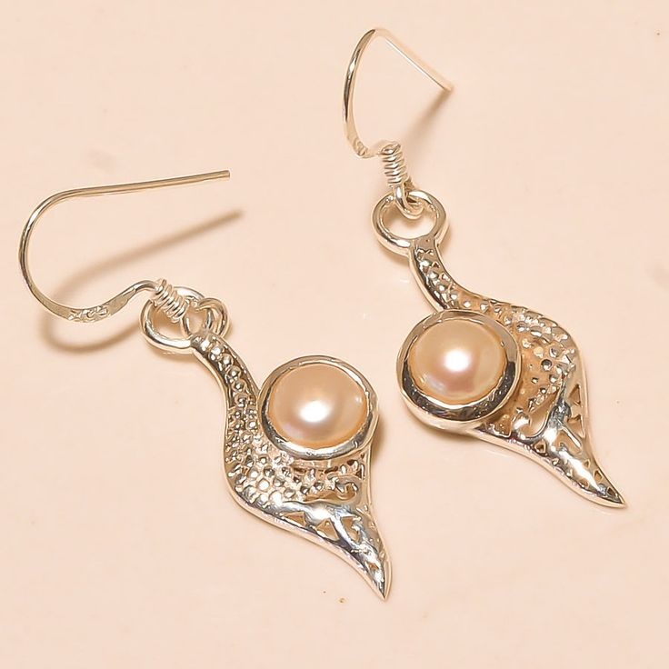 92.5% SOLID STERLING SILVER BEAUTIFUL RIVER PEARL EARRING 3.60 CM #Handmade