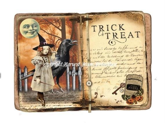 Primitive Halloween Cabinet Card  Tiger by HarvestMoonEmporium, $8.25