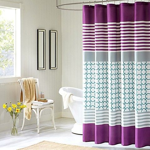 Intelligent Design Halo Shower Curtain in Purple Bed bath & beyond