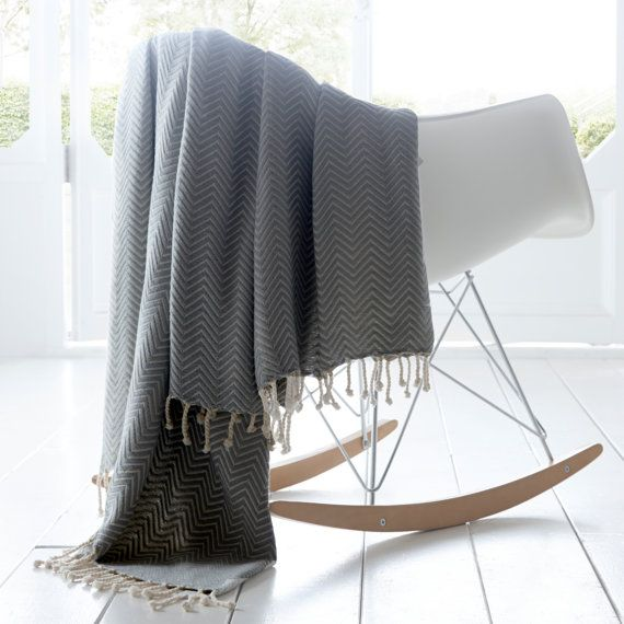 Chevron Throw | Cotton | Tassels| Soft | Grey | Rose Gold | Sofa | Bedding | Home & Living | Contemporary Blanket