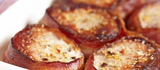 Varkenshaas met mosterd en spek uit de oven