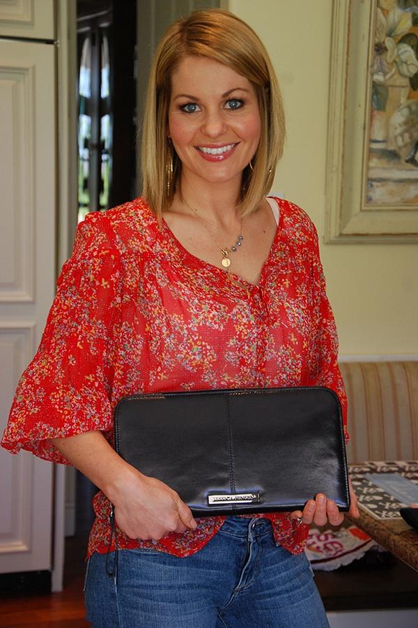 Candace Cameron wearing Jessica Jensen clutch