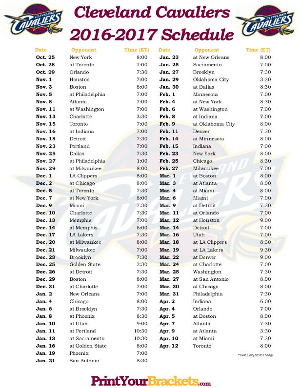 Printable Cleveland Cavaliers Basketball Schedule 2016 - 2017