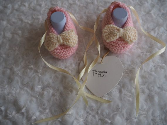 knitted baby ballerina booties/baby slippers/baby by Bootilicious