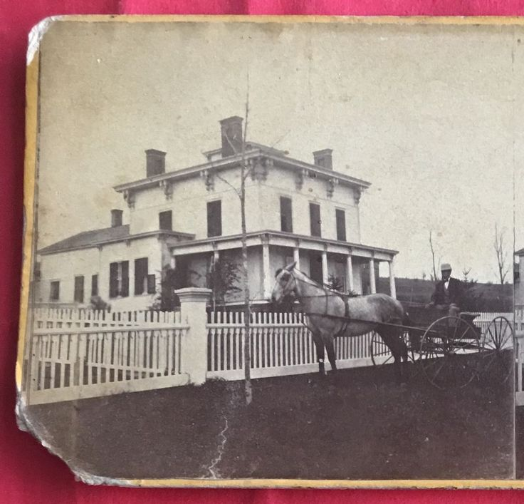 1860s Residence J D Reed House Norwich NY Man Horse Buggy Stereoview Photo