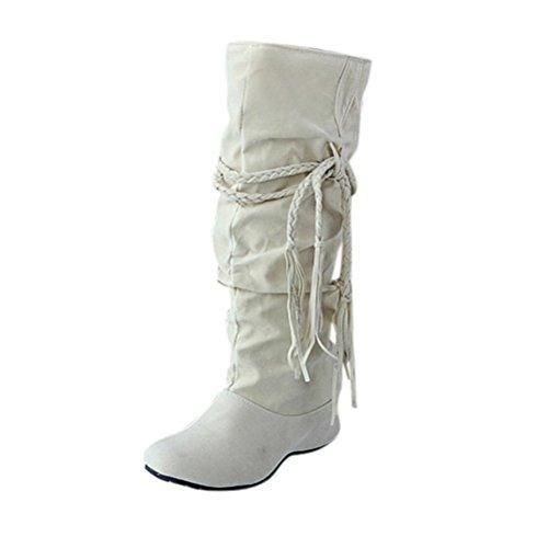 Oferta: 14.5€. Comprar Ofertas de FEITONG Las mujeres aumentan las botas de las plataformas Botas de tacón alto de muslo Motocicleta Zapatos (40, Beige) barato. ¡Mira las ofertas!