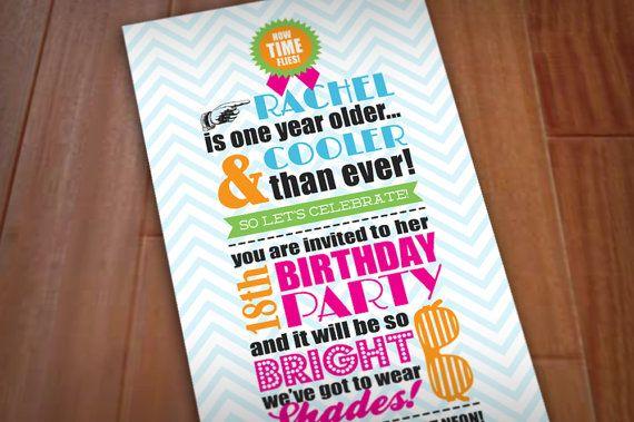 80's BRIGHT SHADES Birthday Party Printable Invitation via Etsy