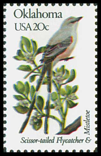1982 20c Oklahoma State Bird & Flower - Catalog # 1988 For Sale at Mystic Stamp Company