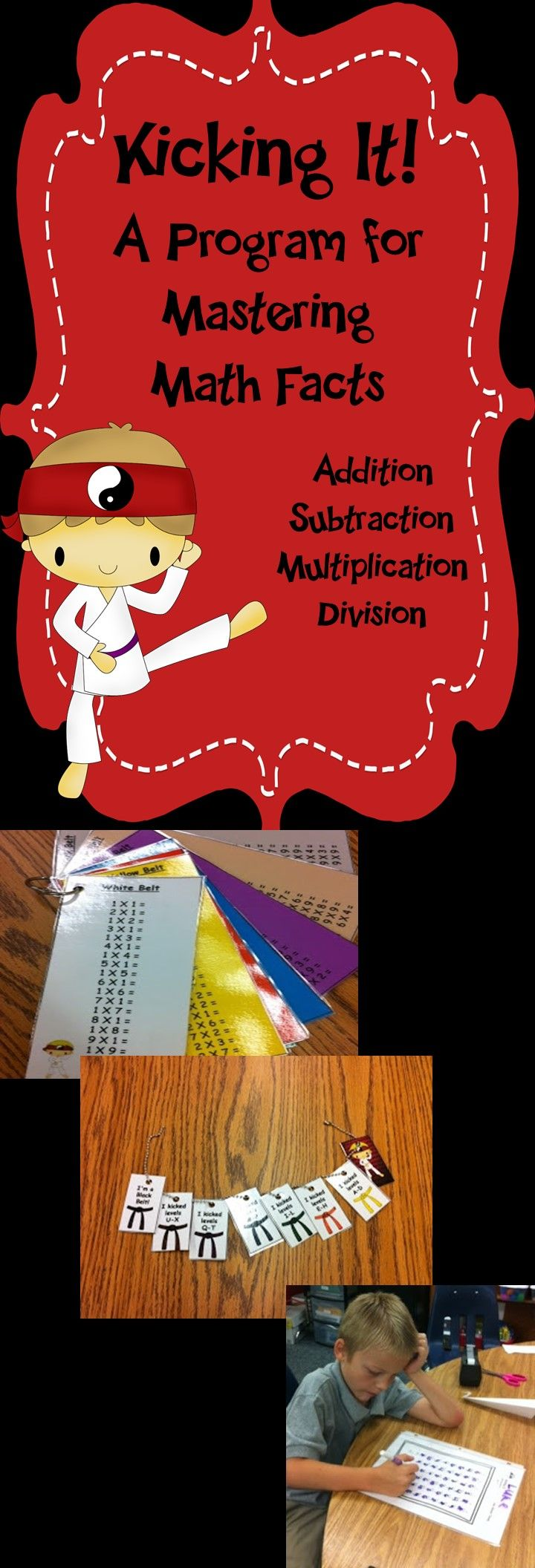 Want to get your students excited about learning their multiplication facts? Try this fun karate/martial arts incentive program with your class!  It only takes about 5-10 minutes a day to incorporate in your math block and your students will be begging to take timed tests each day to pass to the next level and earn their black belt in multiplication!