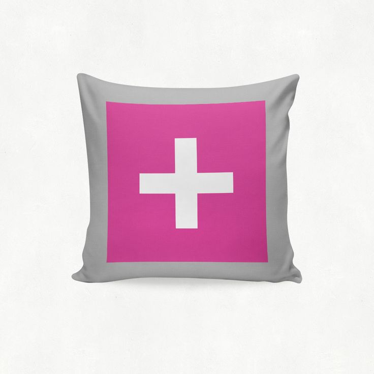 IMIMAH #Scandanavian inspired statement cross outdoor cushion in fuschia pink & grey - $38 + pp - from IMIMAH.co. #cushions #pillows #livingroom #decor #homewear #homespo #mint #grey #cross #crosses #plus