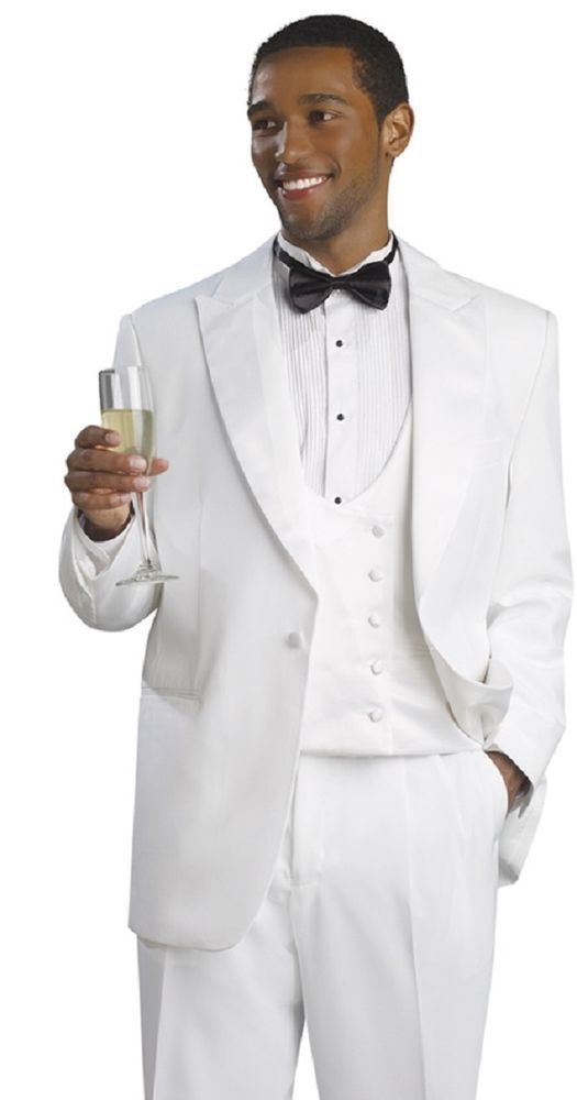 Mens White Designer Tuxedo 3 Piece Formal Prom Wedding Suit TUX104 - Tuxedos  #OneButton