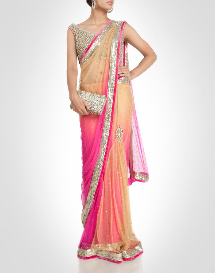 Ombre-toned net cocktail sari in dual shade of peach and pink. Shop Now: www.kimaya.in