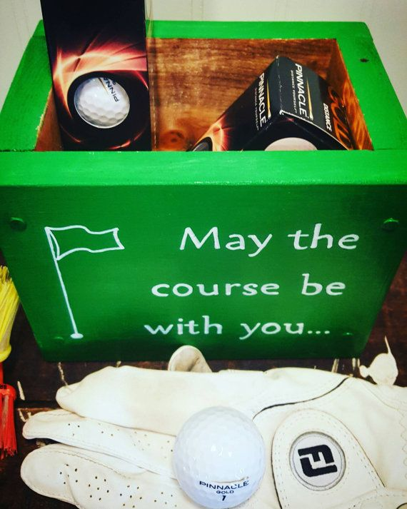 Golf fanatic gift, Tee and score card holder, Gift for golfers, May the course be with you, Green box, Golf ball box, Home decor golf, Wood