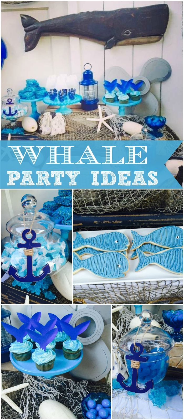 Here's a fun whale party in blue and white with lots of vintage features. See more party ideas at CatchMyParty.com!