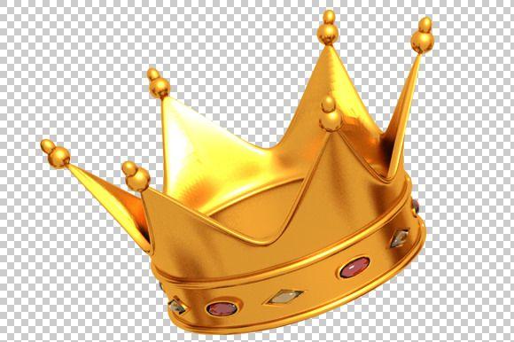 Golden Crown 3D Render PNG