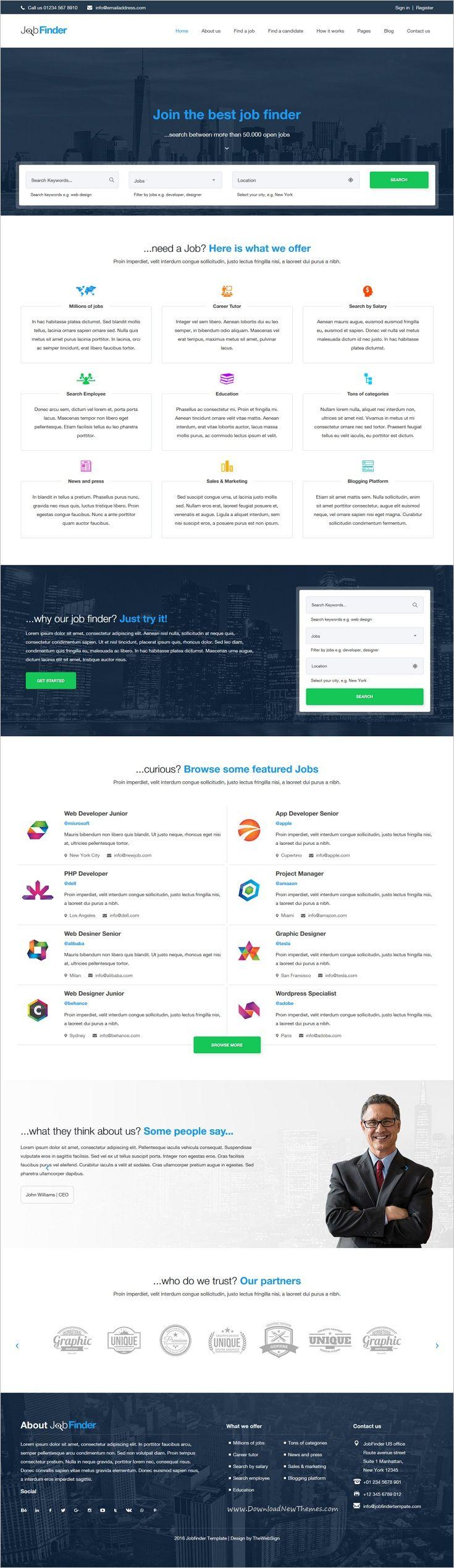 The mentor network employee portal - Jobfinder Job Portal Html5 Template
