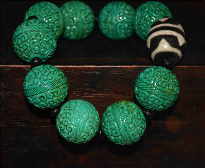 This is a beautiful buddhist bracelet from tibet,made of turquoise and a double water wave dzi bead, each turquoise bead was hand carved . Genuine Turquoise and dzi bead. Tibetan Turquoise Bracelet Buddhist Worry Beads.   eBay!