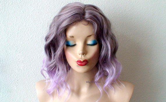 Pastel Lavender wig. Short beach waves hairstyle wig. by kekeshop