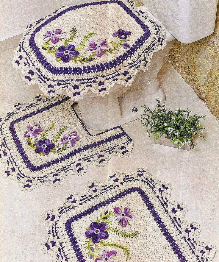 tapete em croche banheiro com bordado ponto rococó em croche com receita