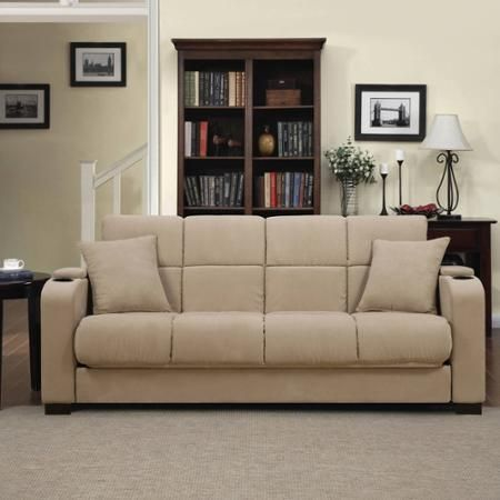 Furniture Rooms Sofa Sleep Bed Tyler Microfiber Storage Arm Tan - Sofas, Loveseats & Chaises