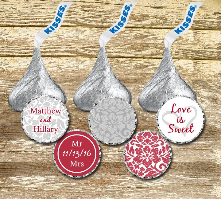 Hershey Kisses Stickers Wedding -  Red and Gray Wedding, Hershey Kisses Label…