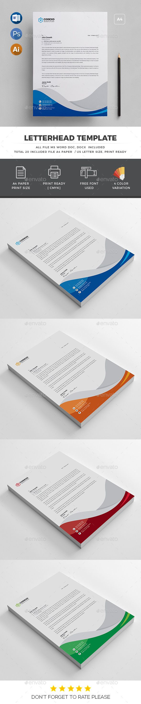 Letterhead Template PSD, Vector EPS, AI Illustrator, MS Word - A4 and US Letter
