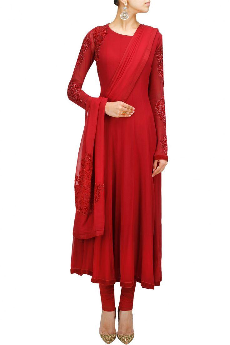 Red velvet applique anarkali set available only at Pernia's Pop-Up Shop.