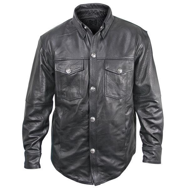 Xelement 'XS-908B' Mens Black Leather Shirt - LeatherUp.com