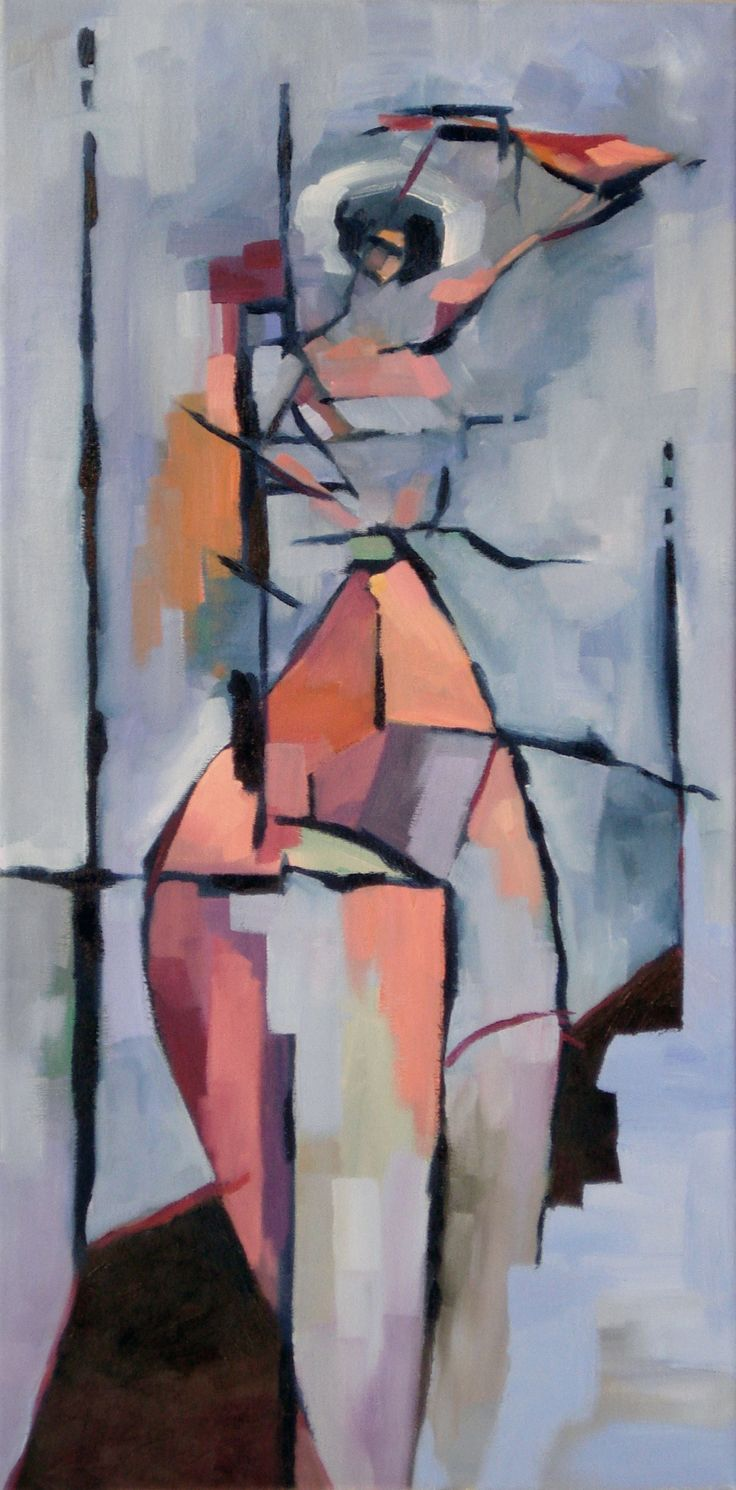 """Woman Standing, Tyrone Rogers, 2016, oil on canvas, 12"""" x 24""""    Abstract nude painting woman painter art artist"""